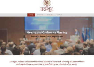 screenshot of a website created for a business called Designing Events Pro Inc