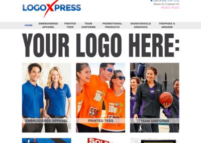 Screenshot of a website created for Logo Express, a local business