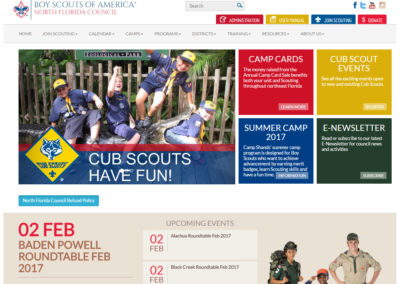 Boy Scouts of America North Florida Council website used as an example of a good website design