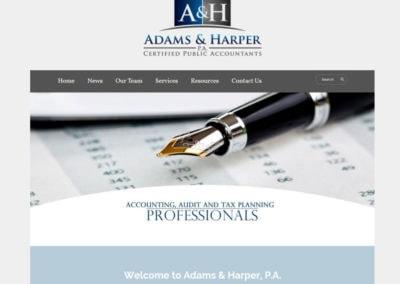 Screenshot of a website created for Adams & Harper, a local certified public accountant business