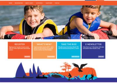 "Screenshot of a website created for a business called ""Aquatics Camp"""