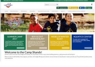 Camp Shand's summer camp screenshot of their website