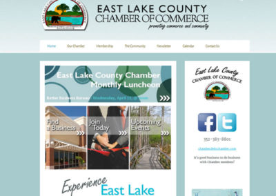 Screenshot of a website created for, East Lake County Chamber of Commerce, a local organization