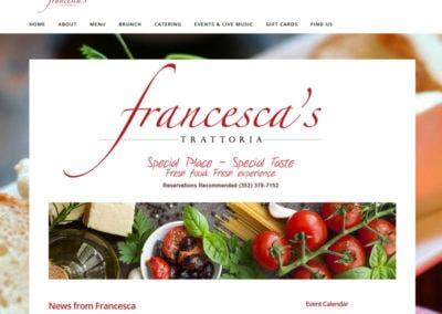 screenshot of a website created for Francescas restaurant