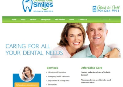 example of a good website design created for Orange Park Smiles