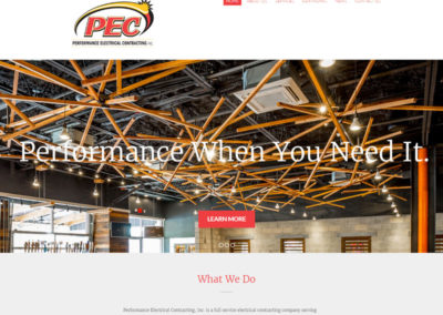 """a website EZY marketing created for their client """"Performance Electrical Contracting"""""""