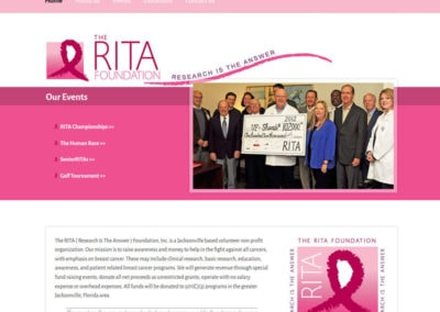 screenshot of a website created for the rita foundation