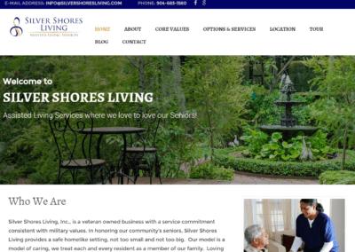 screenshot of a beautiful website designed for Silver Shores living